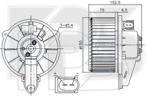 12 W0210 NRF (FP 12 W0210) ВЕНТИЛЯТОР САЛОНА D=150