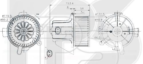 20 W0222 AVA (FP 20 W0222) ВЕНТИЛЯТОР САЛОНА D=120. 144 W